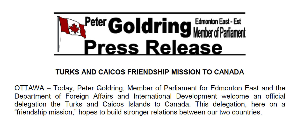 Turks and Caicos Friendship Mission to Canada
