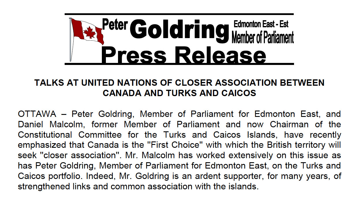 Talks at United Nations of Closer Association Between Canada and Turks and Caicos